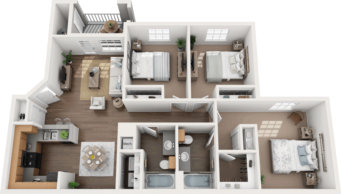 C - Three Bedroom / Two Bath - 1,193 Sq. Ft.*